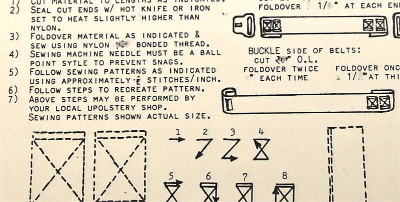 1965 1966 Corvette Seat Belt Sewing Instructions