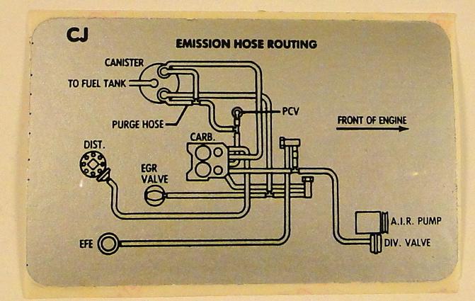 1979 Corvette 350 Emission Vacuum Hose Routing Label