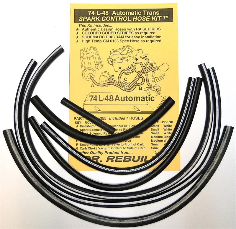 1974 Corvette L48 Automatic Spark Control Vacuum Advance Hose Kit Replaces Gm