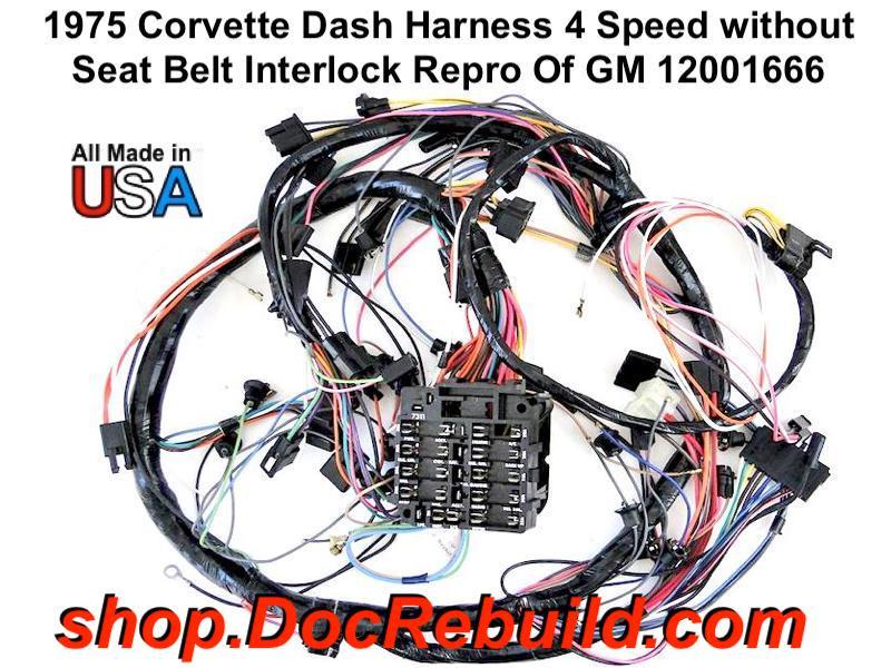 1975 corvette dash harness with fuse box with 4 speed without seat belt  interlock repro of gm 12001666  1960-1965 corvette drum parking brake lever set genuine gm 15594177 &  15594178 nos