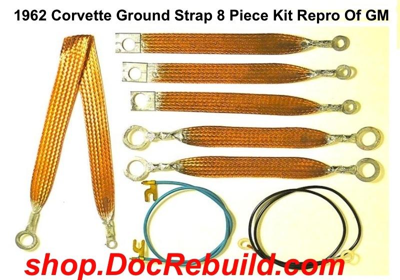 1962 Corvette Ground Strap 8 Piece Kit Repro Of GM